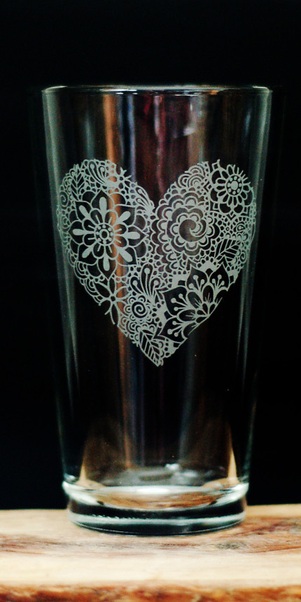 Love Heart Satin Etched Pint Glass