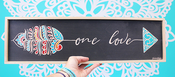 One Love Carved Word Arrow