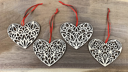 Mandala Heart Ornaments